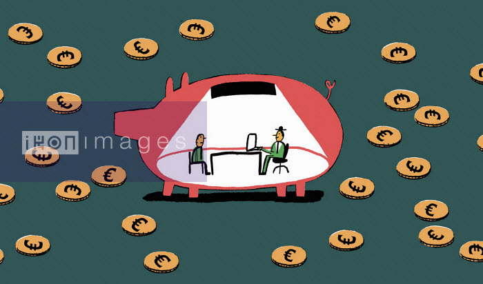 Man meeting financial adviser inside of piggy bank - Nick Shepherd