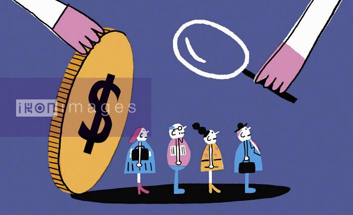 Magnifying glass examining people under dollar coin - Nick Shepherd