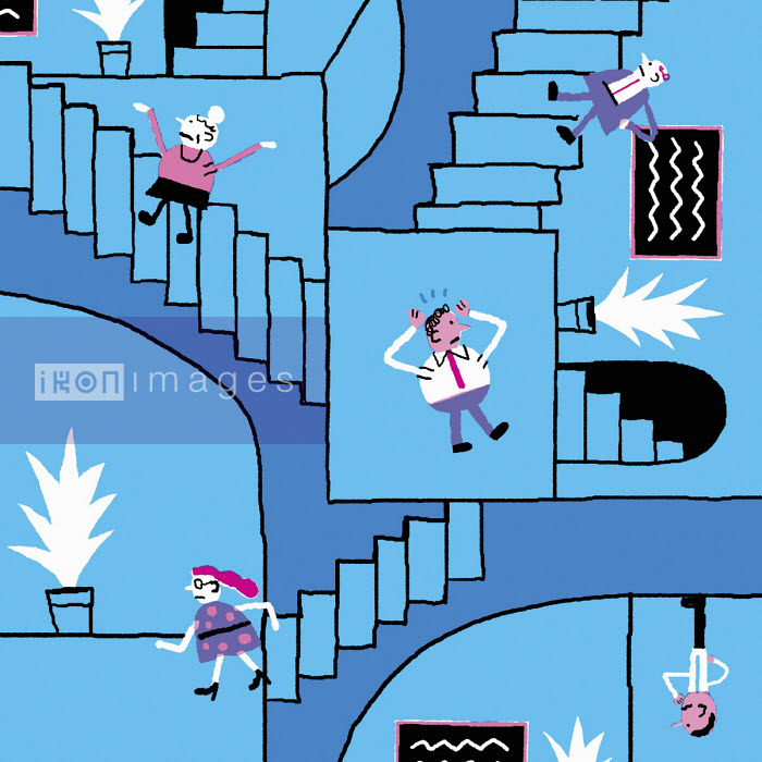 People going round in circles on Escher like staircase - Nick Shepherd