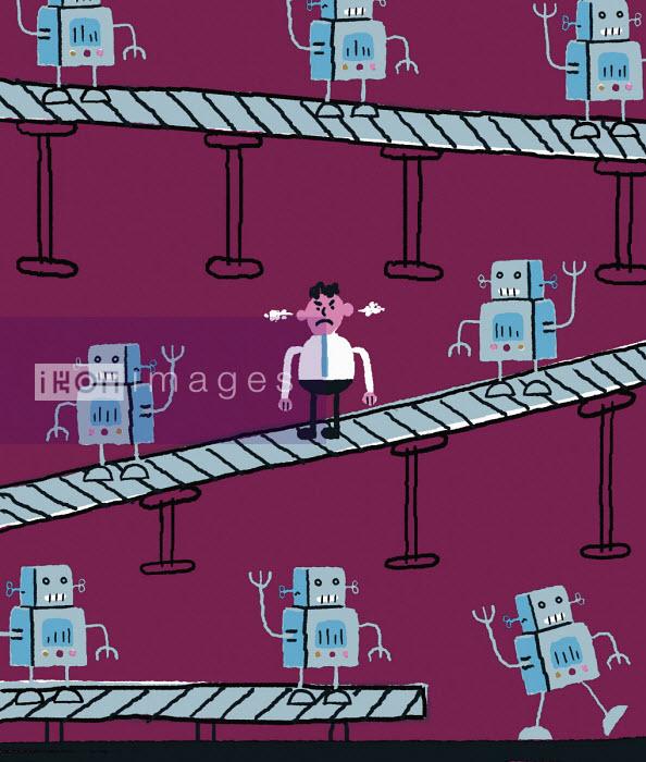 Exasperated man on robot production line - Nick Shepherd