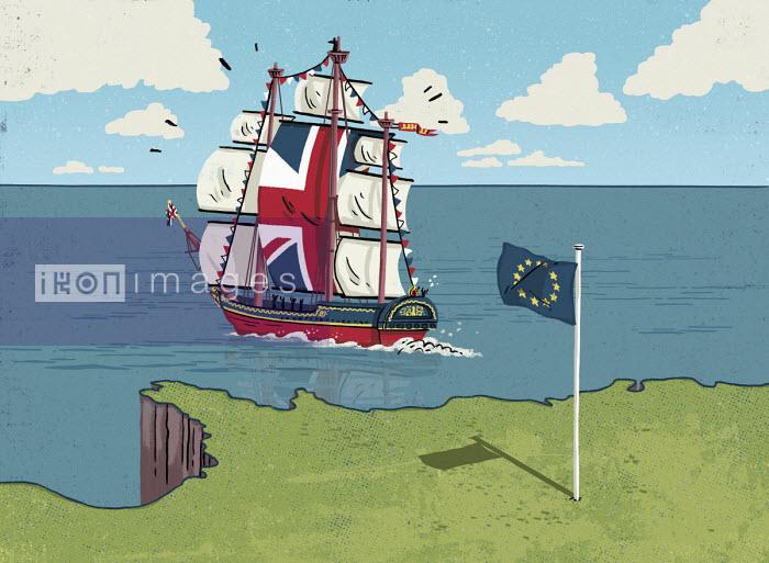 United Kingdom ship sailing away from European Union - Eva Bee