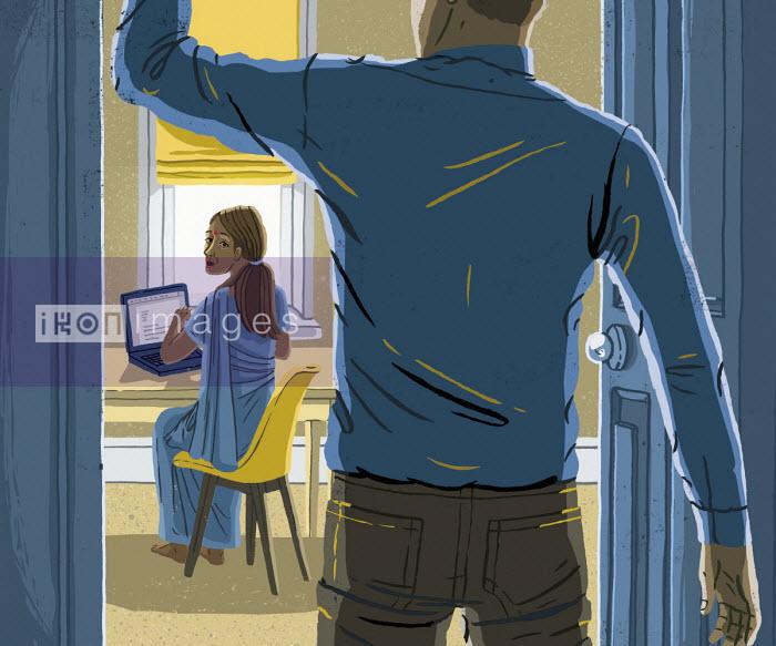 Woman looking anxiously at man entering room - Eva Bee