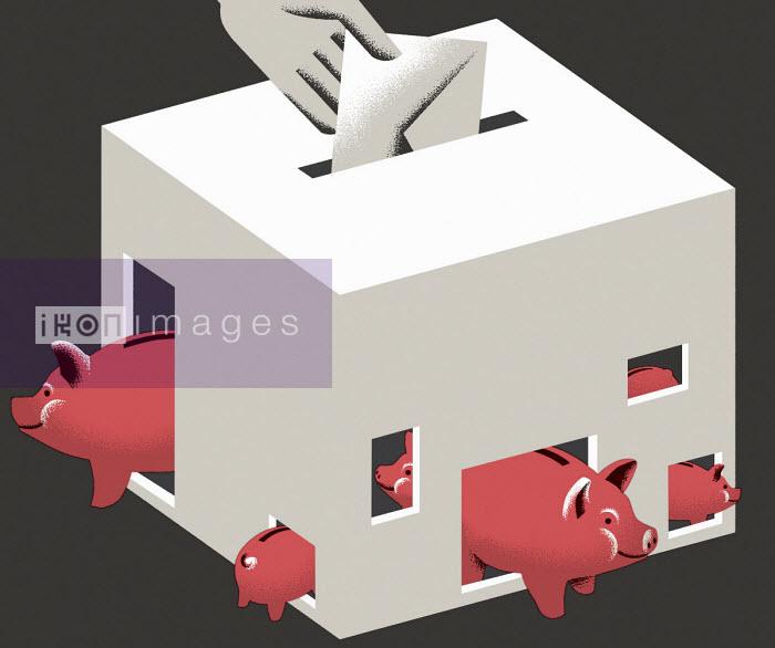 Piggy banks in ballot box - Otto Dettmer