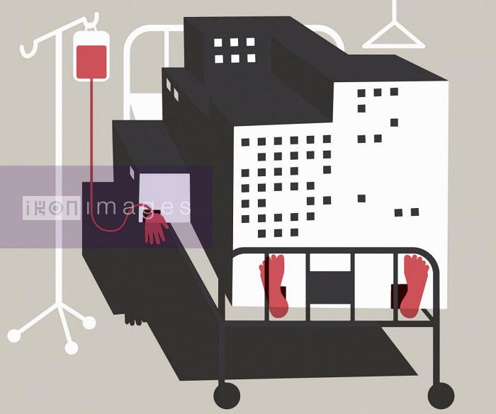 Hospital building as sick patient - Otto Dettmer