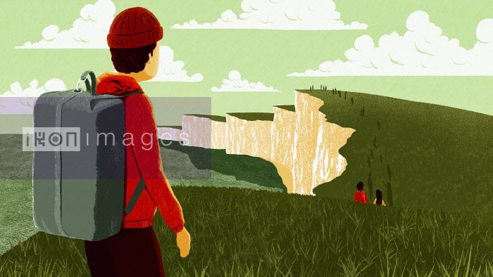 People walking along top of white cliffs - Sam Brewster