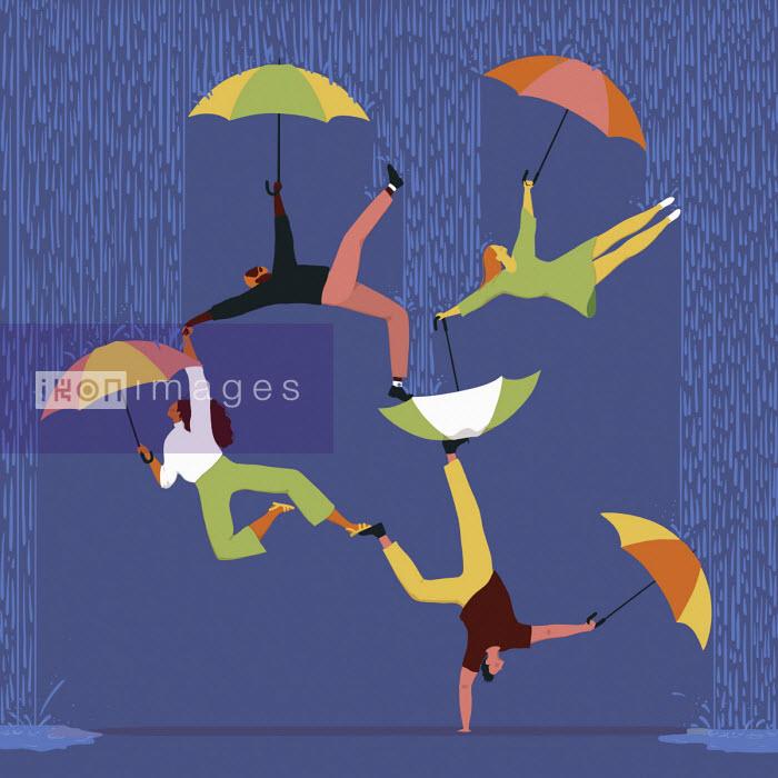 People and umbrellas forming human pyramid in rain - Alice Mollon