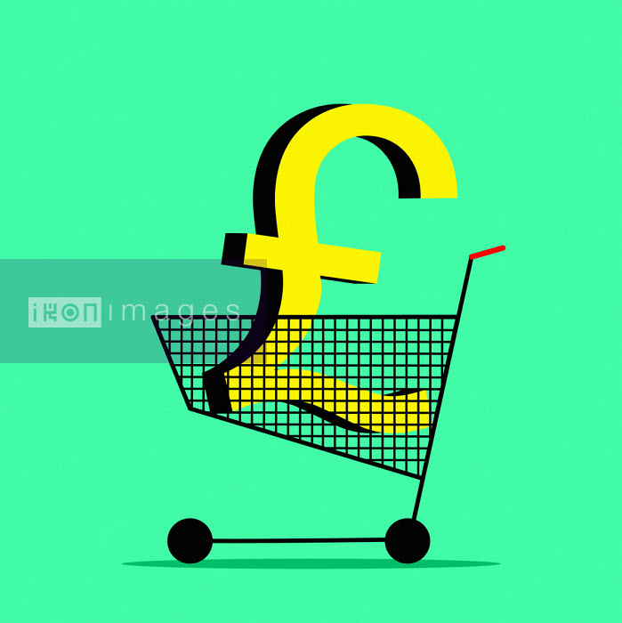 Pound sign in shopping trolley - Benjamin Harte