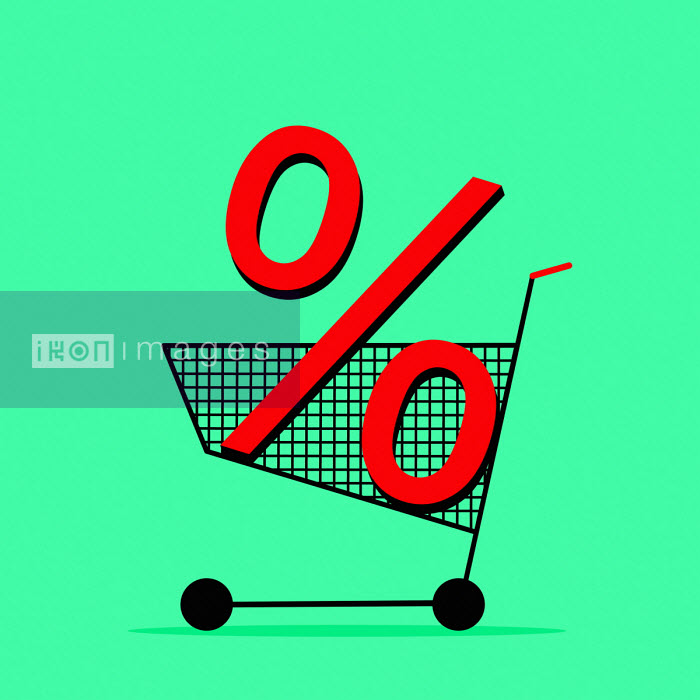 Benjamin Harte - Percentage sign in shopping trolley