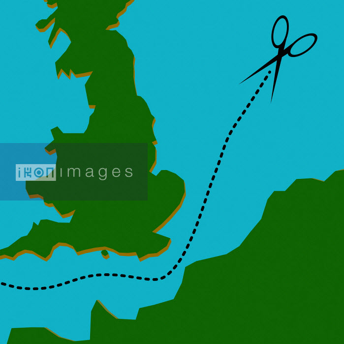 Scissors cutting dotted line separating Britain from Europe - Benjamin Harte