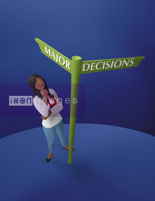 Student looking up at decision signpost - Gail Armstrong