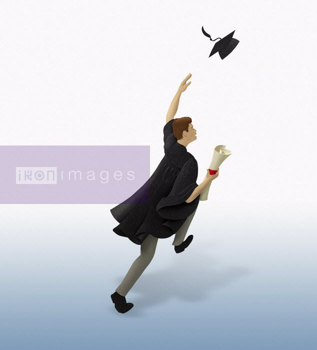 Gail Armstrong - Graduate running throwing mortar board in air