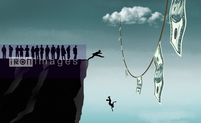 People leaping off cliff trying reach dangling dollar notes