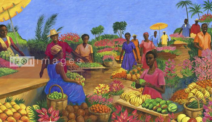 Colourful fruit market in Martinique