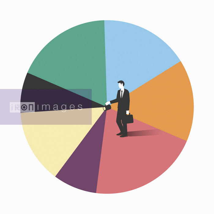 Tang Yau Hoong - Businessman with torch beam on pie chart