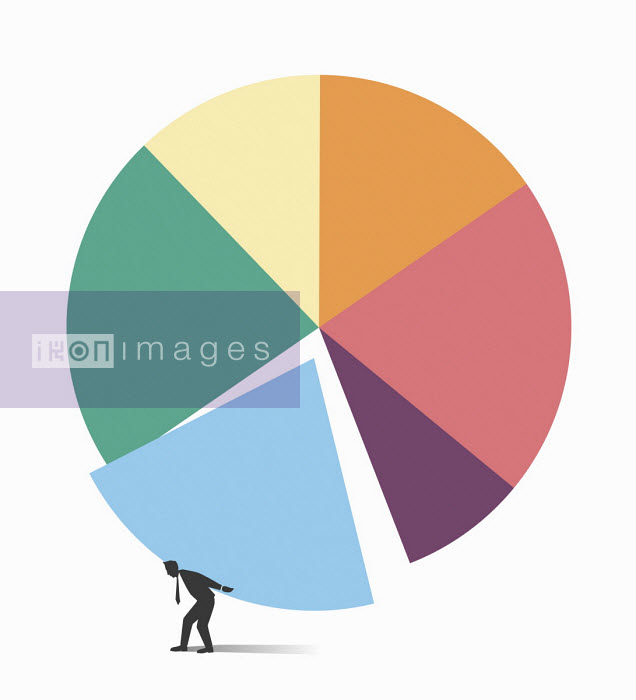 Tang Yau Hoong - Businessman with slice of pie chart on back