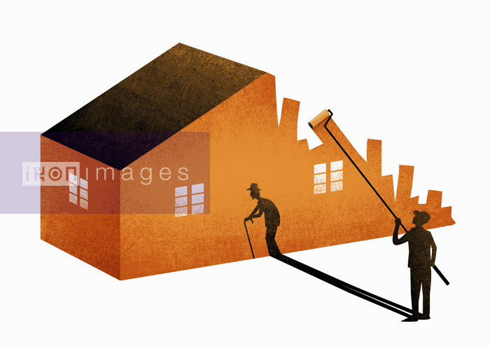 Younger man with elderly shadow painting house - Tang Yau Hoong