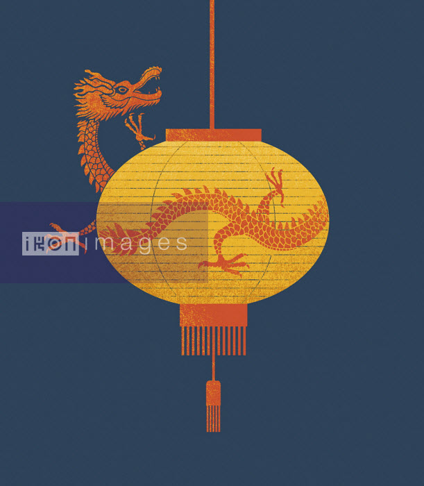 Dragon emerging from Chinese lantern - Tang Yau Hoong