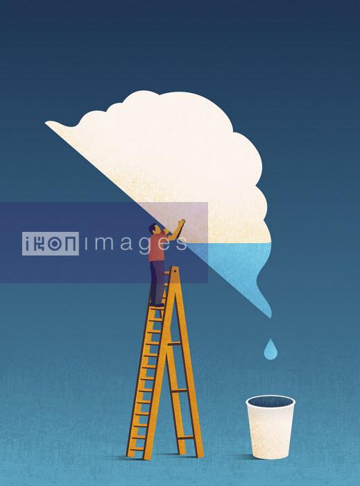 Man tipping water out of cloud - Tang Yau Hoong
