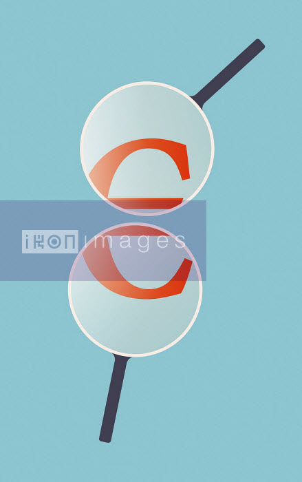 Euro sign under magnifying glasses - Tang Yau Hoong