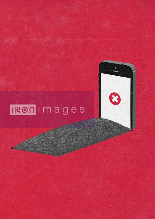Sergio Ingravalle - Smart phone as gravestone with x on screen