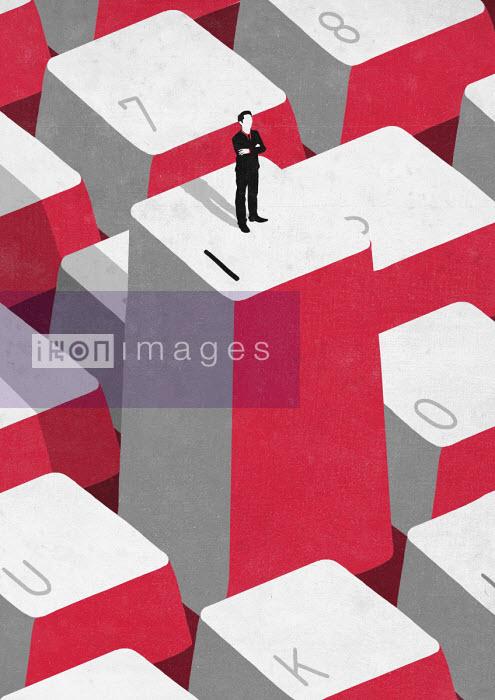Sergio Ingravalle - Egocentric businessman standing on letter I on keyboard