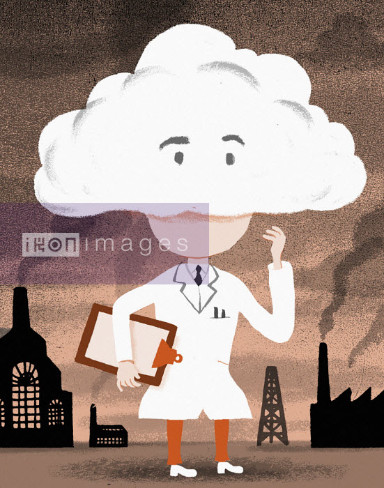 Scientist with head in clouds surrounded by air pollution - Bjorn Lie