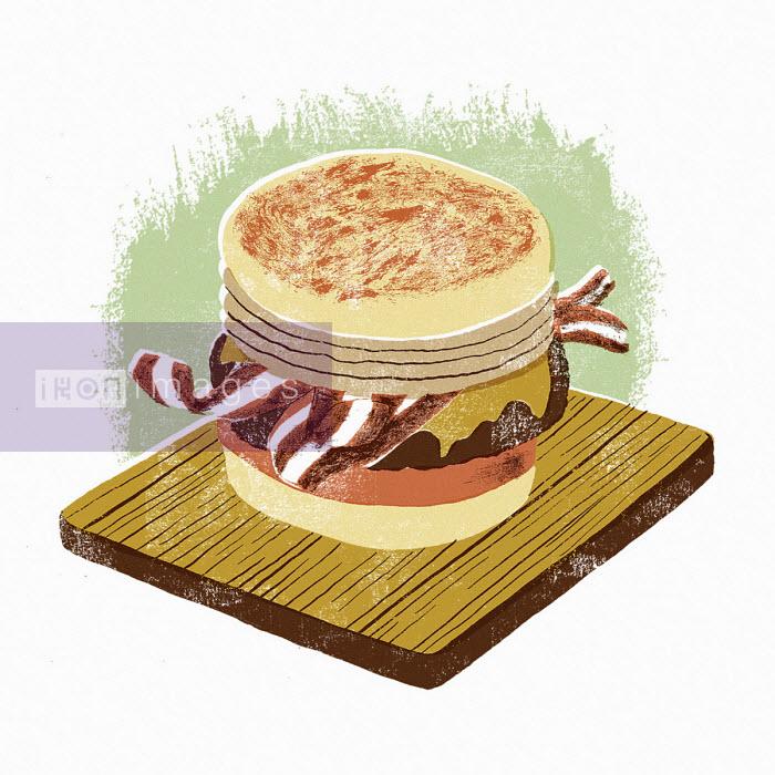 Sam Brewster - Hamburger on wooden board