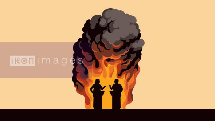Flames around arguing politicians - Harry Haysom