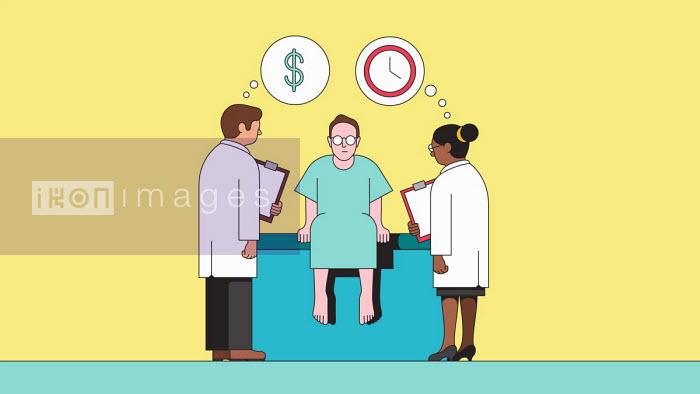 Doctors examining patient while thinking about time and cost - Harry Haysom