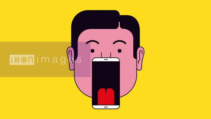 Man with smart phone as open mouth - Harry Haysom