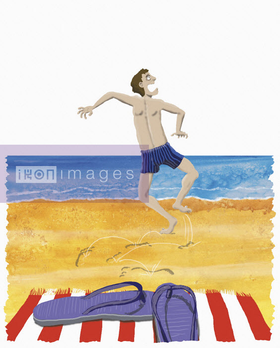 Man in pain crossing hot sand - Andrew Pinder