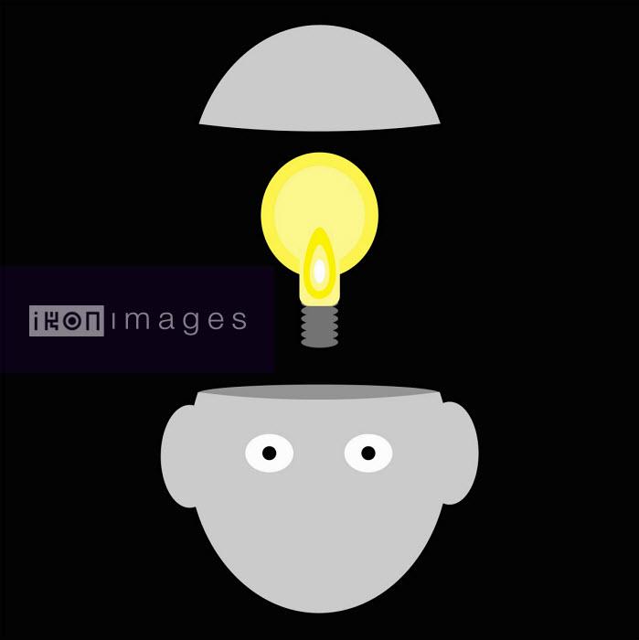 Light bulb inside top of man's head - Benjamin Harte