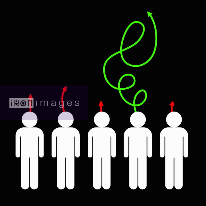 Man standing out with long swirling arrow from head - Benjamin Harte