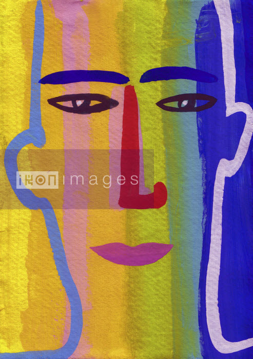 Close up of man's face in rainbow flag colours - Christopher Corr