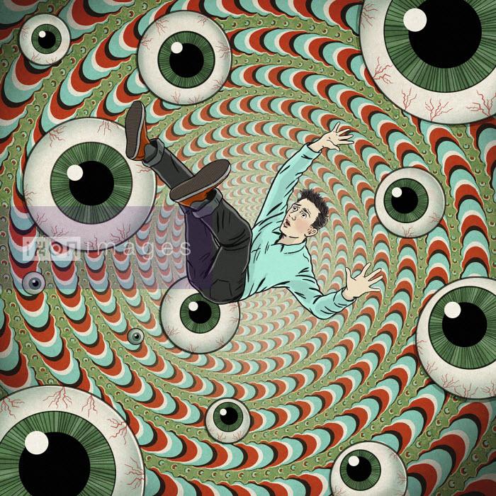 Man falling into vortex of eyeballs - Dan Mitchell