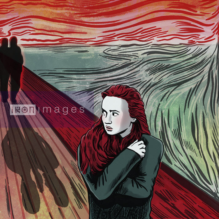 Young woman anxious about people following her in pastiche of The Scream - Dan Mitchell