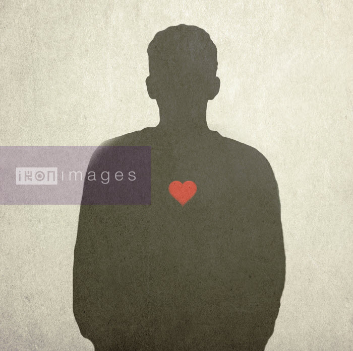 Gary Waters - Red heart on silhouette of man