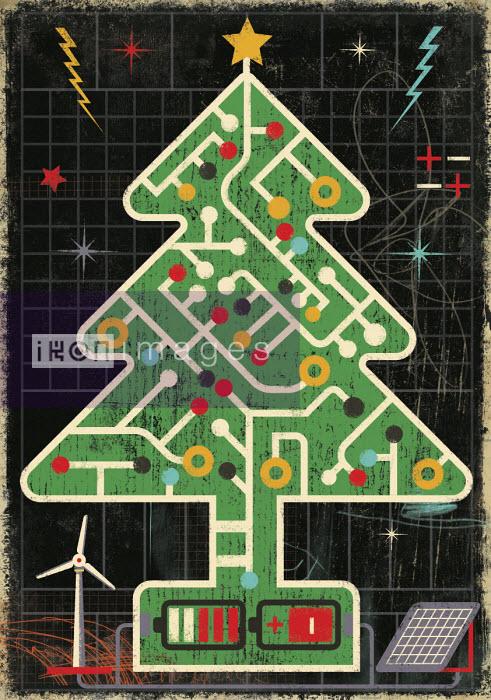 Ian Murray - Circuit board Christmas tree connected to renewable energy