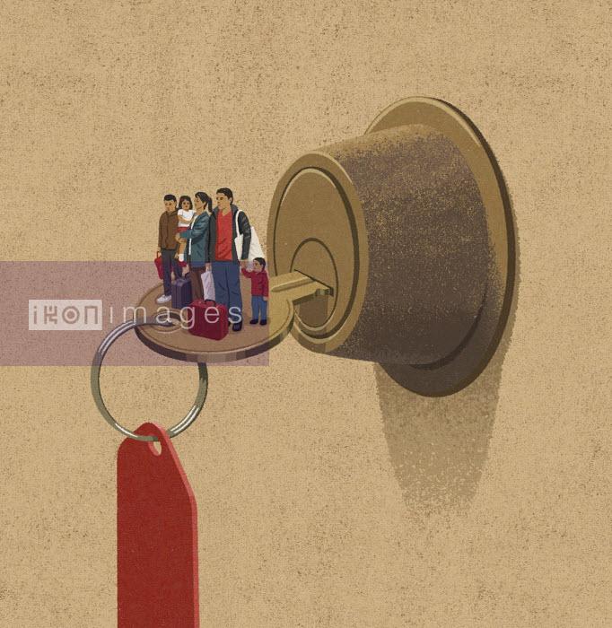 John Holcroft - Family standing on key in door lock