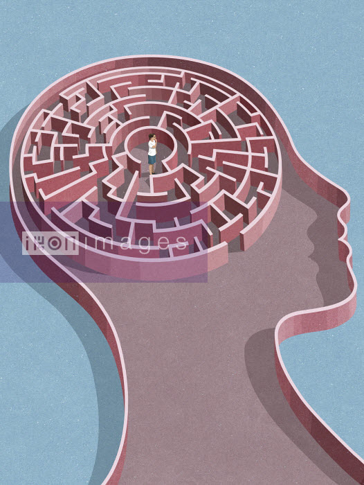 Woman at centre of maze inside of head - John Holcroft