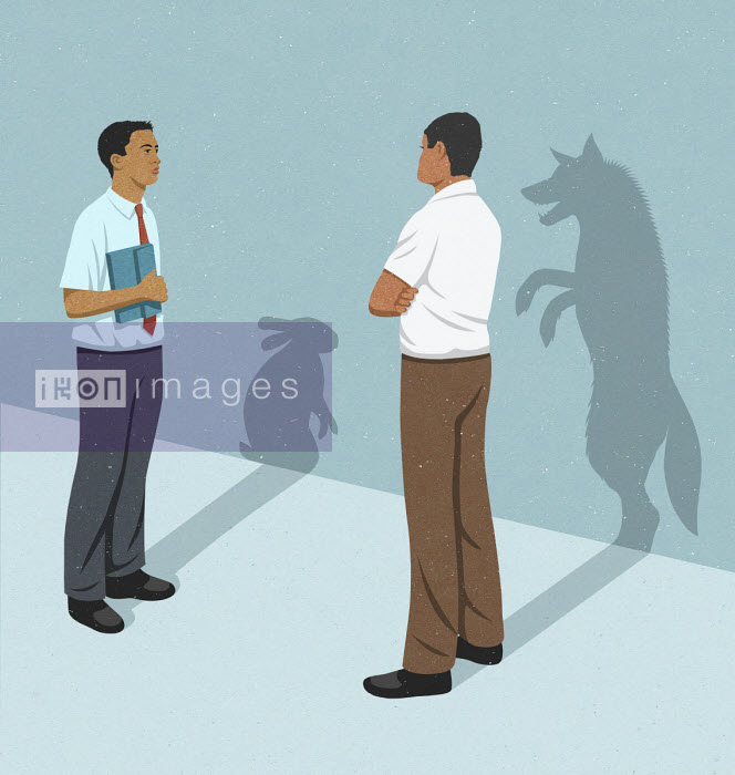 John Holcroft - Businessmen with rabbit and wolf shadows
