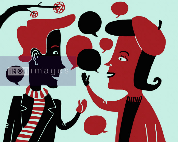 Oivind Hovland - Cheerful man and woman chatting with lots of speech bubbles