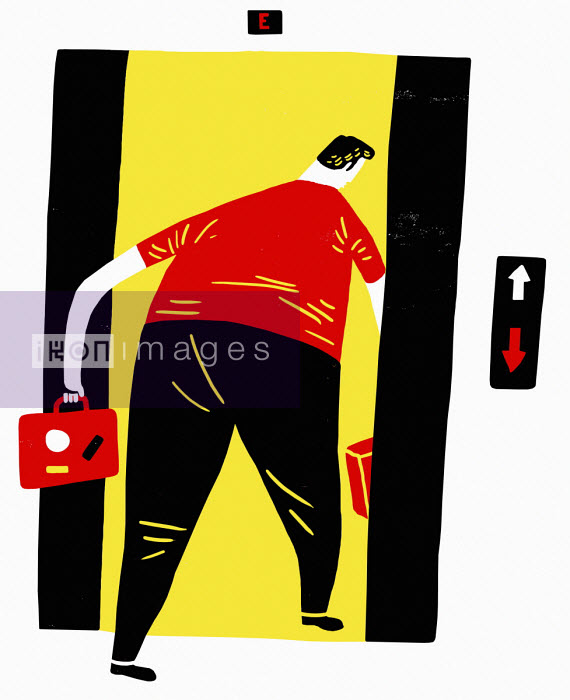 Oivind Hovland - Businessman going down in lift