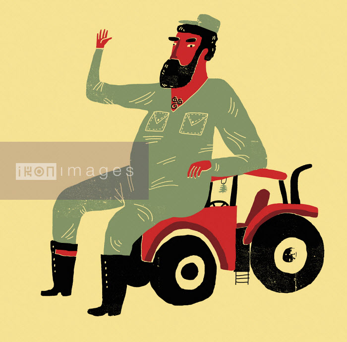 Farmer waving sitting on small tractor - Oivind Hovland