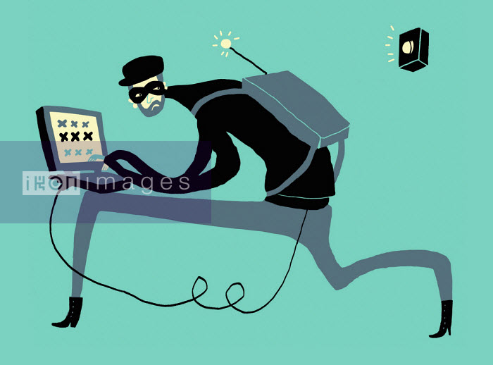 Computer hacker setting off alarm - Oivind Hovland