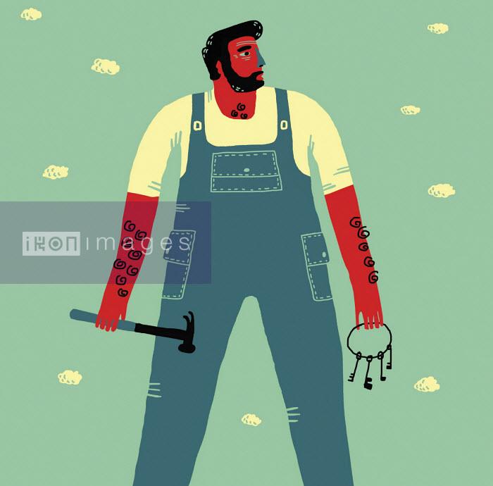 Caretaker holding keys and hammer - Oivind Hovland