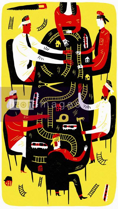 bybanen, bord, moete, rot, surr, blind, jernbane, skinner, hammer, klipp, lim, byraakrati - People in meeting trying to build model railway blindfold - Oivind Hovland