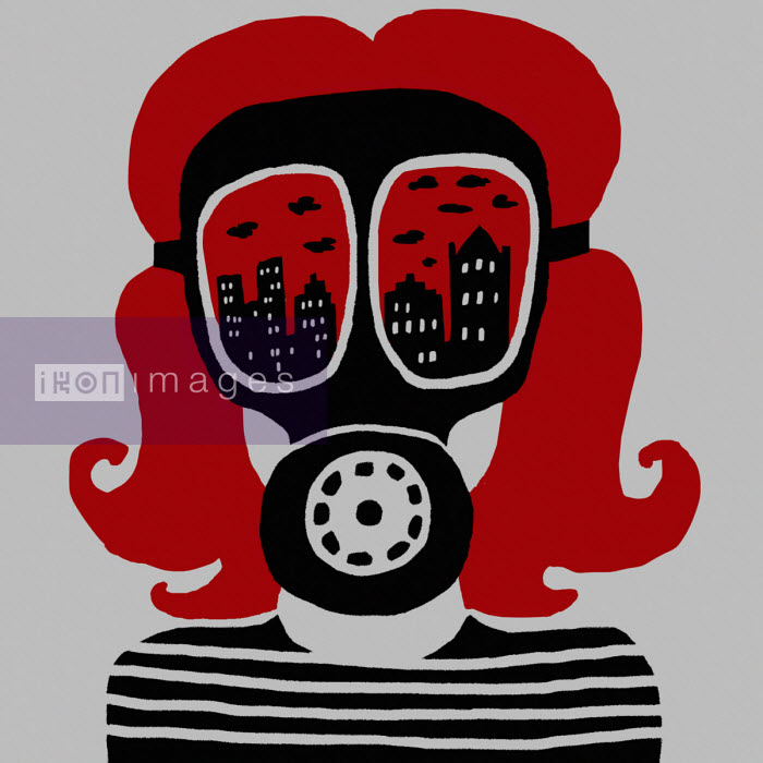 Oivind Hovland - Girl wearing air pollution gas mask