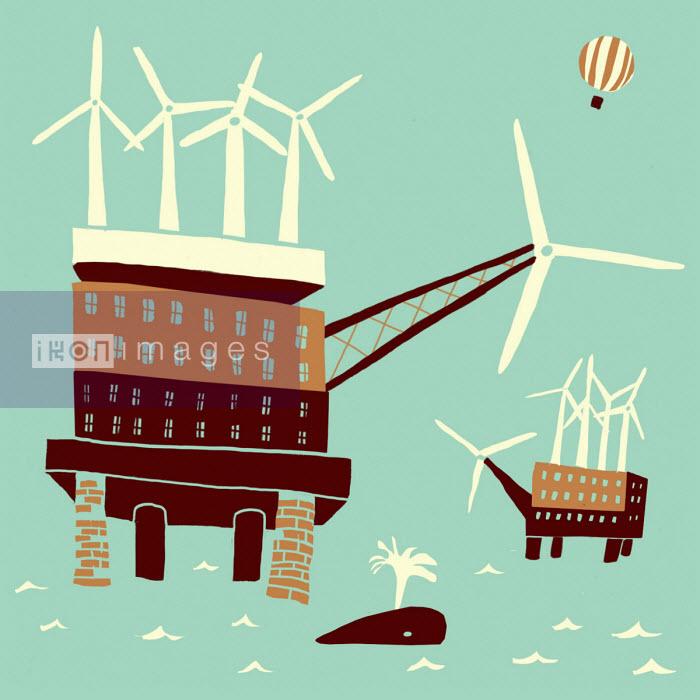 Wind turbines on top of oil rig - Oivind Hovland