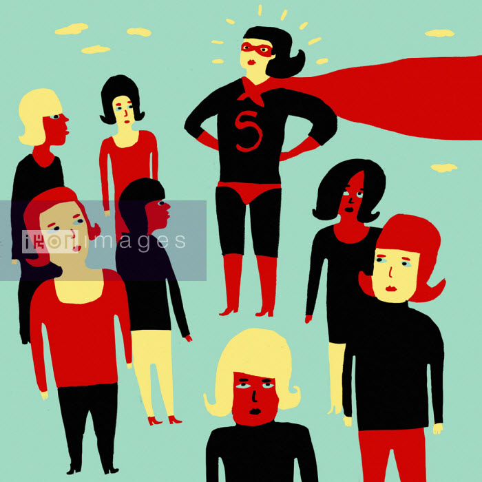 Woman in superhero costume surrounded by less confident women - Oivind Hovland